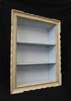 Shelf, Wallmount, 3 LEVELS,WAVY FRAME,LT BLUE INTERIOR, WOOD, OFFWHITE