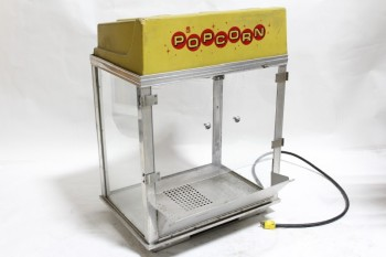 Vending, Machine, VINTAGE POPCORN MACHINE,PLASTIC TOP,PLEXI SIDES & DOOR, 1 SIDE NO GLASS, METAL FRAME & TRAY , METAL, CLEAR