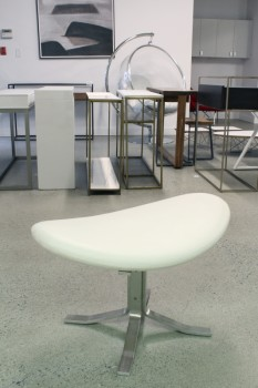 "Stool, Ottoman, MODERN,CURVED OVAL CUSHION, ""X"" BASE, PREMIUM WHITE/CREAM LEATHER, LEATHER, WHITE"