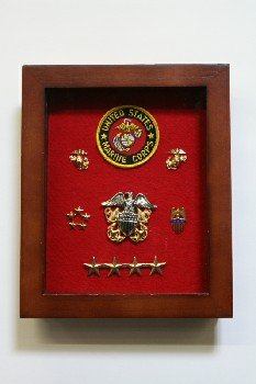Wall Dec, Shadow Box, MEDALS ON RED BACKING,HINGED LID, WOOD, BROWN