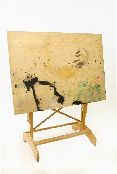 Table, Drawing, DRAFTING/ARTIST'S DRAWING BOARD,ADJUSTABLE,TILTED SURFACE, PAINT DRIPS, WOOD, BROWN