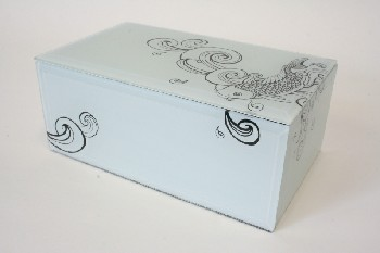 Box, Jewelry, KOI FISH, BEVELED EDGES, BLACK VELVET INSIDE, GLASS, OFFWHITE