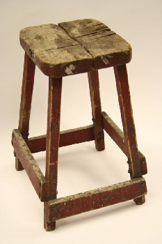 Stool, Square, SQUARE SEAT,WOOD SEAT,AGED, WOOD, RED