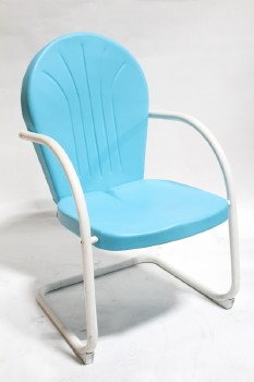 Chair, Misc, VINTAGE SHELL BACK,RETRO,PATIO/GARDEN/MOTEL, ROUNDED ARMS, CANTILEVER, MATTE PAINT , METAL, BLUE