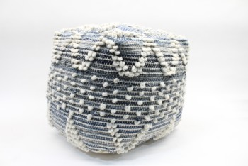Stool, Ottoman, POUFFE OR SEAT,DENIM/WOOL, VISIBLE WHITE STITCHING & POMPOMS, FABRIC, BLUE
