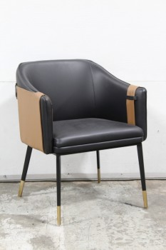 Chair, Armchair, BLACK SEAT W/BROWN BELTED ACCENT PANEL AROUND BACK & SIDES, BLACK METAL LEGS W/BRASS FEET, LEATHER, BLACK