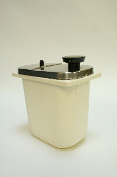 Restaurant, Dispenser, SYRUP CONTAINER W/HINGED SILVER METAL LID,