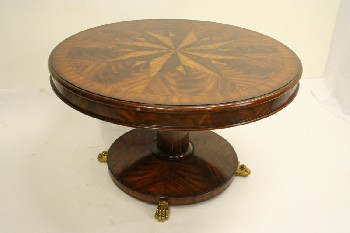 Table, Dining, MAHOGANY,STAINED,ROUND TOP W/STAR PATTERN INLAID,PEDESTAL BASE W/ BRASS PAW FEET, WOOD, BROWN