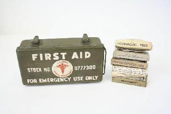 Medical, First Aid Kit, ARMY, 7 BOXES INSIDE (TOURNIQUET, BANDAGES, ETC.), METAL, GREEN