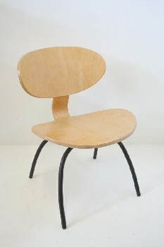 Chair, Side, MODERN,OVAL SEAT/BACK,BLACK METAL LEGS, WOOD, BEIGE