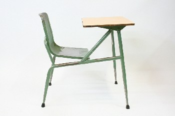 Desk, Student, VINTAGE,SCHOOL/STUDENT LAMINATE DESK TOP W/CONNECTED SEAT, Contition Not Identical To Photo - Painted , METAL, GREEN