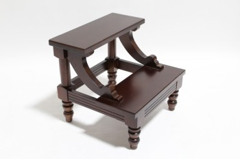 Stool, Stepstool, TWO LEVEL BED STEP, SCROLLED ACCENTS, TURNED LEGS , WOOD, BROWN