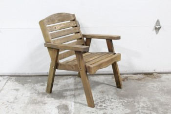 Chair, Rustic , SPACED WOOD SLATS,ARMCHAIR, ROUNDED TOP, OUTDOOR/GARDEN/PATIO, SLIGHTLY AGED , WOOD, BROWN
