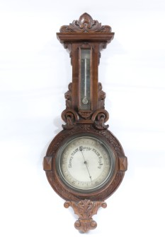 Science/Nature, Barometer, ANTIQUE,CARVED WOOD, BAROMETER/THERMOMETER, WALLMOUNT,