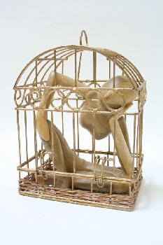 Decorative, Figurine, NATURAL WOOD ABSTRACT FIGURE IN WIRE CAGE, METAL, GOLD