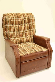 Chair, Recliner, BROWN PLAID FABRIC SEAT/BACK,BUTTON TUFTED, VINYL, BROWN