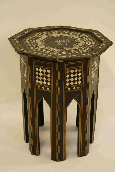 Table, Side, OCTAGON SHAPE,INLAID WOOD/SHELL, WOOD, BLACK