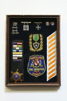 Wall Dec, Shadow Box, POLICE MEDALS & PATCHES ON BLUE BACKING, WOOD, BROWN
