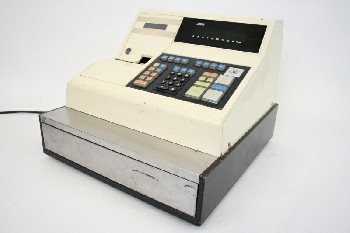 Store, Cash Register, 1 DRAWER,BLK PANELS & BASE,COLOURED BUTTONS, PLASTIC, OFFWHITE