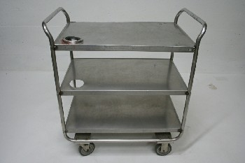Cart, Metal, 3 LEVEL W/HOLE IN TOP 2 LEVELS,ROLLING, STAINLESS STEEL, GREY