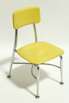 Chair, Child's, VINTAGE,SMALL,KID SIZE, PLAIN SEAT & BACK, METAL LEGS, SCHOOL/DAYCARE ETC., STACKABLE, PLASTIC, YELLOW
