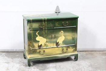 Cabinet, Wood, ASIAN,SMALL CABINET OR SIDE TABLE, 1 LARGE & 2 SMALL DRAWERS, PAINTED, BIRD & BAMBOO MOTIF, WOOD, GREEN