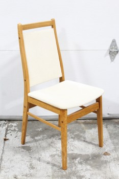 Chair, Dining, VINTAGE DANISH, CREAM TERRYCLOTH UPHOLSTERED SEAT & BACK, WOOD, BROWN
