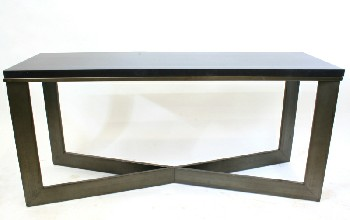 Table, Misc, RECTANGULAR BLACK LAMINATE TOP W/X-SHAPED BASE, METAL, BLACK