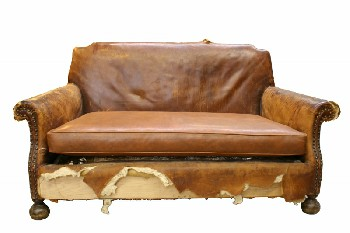 Sofa, Loveseat, ANTIQUE,ROLL ARM,TACK TRIM,RIPPED,WORN, COMING UNSTUFFED, WATER DAMAGED,EXPOSED BURLAP & SPRINGS, AGED (Stock Photo Only, Condition Not Identical), LEATHER, BROWN
