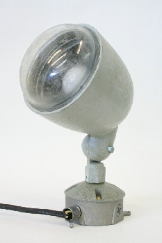 Lighting, Misc, INDUSTRIAL,ADJUSTABLE,ROUNDED GLASS BULB COVER , METAL, GREY