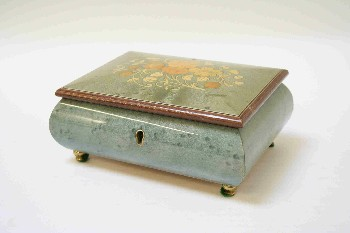 Box, Jewelry, FLORAL INLAY ON HINGED LID,BRASS LEGS,KEYHOLE,MUSIC, WOOD, GREEN