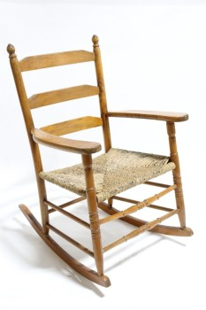 Chair, Rocking, ROCKER,WOOD FRAME,TURNED POSTS,3 SLAT BACK, WOVEN SEAT , WOOD, BROWN