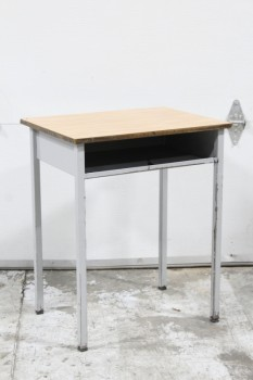 Desk, Student, SCHOOL/STUDENT,LIGHT COLOURED LAMINATE DESK TOP W/CUBBY, GREY METAL LEGS - Condition/Chipped Areas Slightly Different On All Desks , METAL, GREY