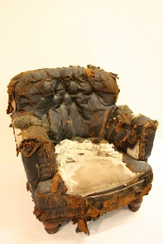 Chair, Armchair, EASY CHAIR,BUTTON TUFTED BACK, RIPPED/AGED , LEATHER, BLACK