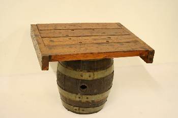 Table, Misc, WOOD SLAT TOP BOLTED TO BARREL BASE, WOOD, BROWN