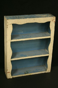 Shelf, Wallmount, 3 LEVELS,CURVY FRAME,BLUE INTERIOR, WOOD, OFFWHITE