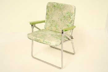 Chair, Folding, OUTDOOR/LAWN,FLORAL W/GREEN ARMS, TUBULAR FRAME, NYLON, MULTI-COLORED