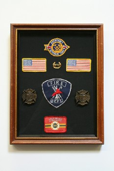 Wall Dec, Shadow Box, FIRE & RESCUE PATCHES ON BLACK BACKING, WOOD, BROWN