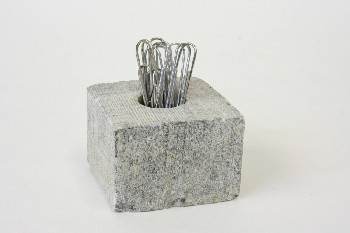 Desktop, Paper Clip Holder, SQUARE, PAPER CLIPS GLUED IN, STONE, GREY
