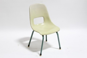 Chair, Child's, VINTAGE,MOLDED W/LOWER BACK CUTOUT, CHILD SIZED, SCHOOL/CLASSROOM , FIBERGLASS, BEIGE