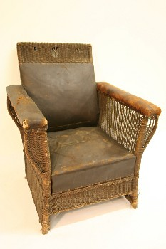 Chair, Armchair, WICKER FRAME, LEATHER, BROWN