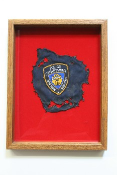 Wall Dec, Shadow Box, NY POLICE DEPT PATCH ON RED BACKING, WOOD, BROWN