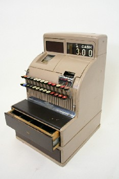 Store, Cash Register, 2 DRAWERS (1 OPENS),ROUND BUTTONS,OLD STYLE