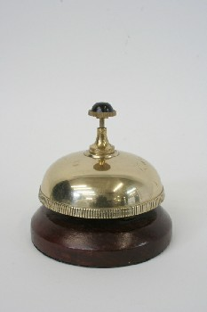 Bell, Store, HOTEL/FRONT DESK SERVICE,BLACK TOP,WOOD BASE , METAL, BRASS