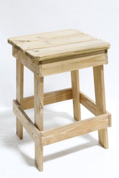 Stool, Square, SLAT SEAT,UNFINISHED WOOD, RUSTIC , WOOD, BROWN