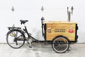 "Bicycle, Pedicab, 3 WHEEL VENDING TRICYCLE, FRONT COOLER W/LATCH LID & TAPS PIVOTS, COFFEE CART, ""COLD BREW COFFEE"", 51"" H W/TAPS, METAL, BLACK"