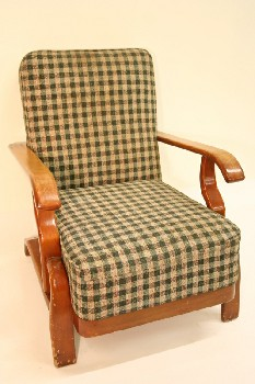 Chair, Armchair, CHECKERED PATTERN,WOOD FRAME W/CURVED ARMS, FABRIC, MULTI-COLORED