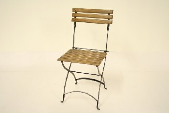 Chair, Folding, WOOD SLAT SEAT/BACK, METAL, BROWN