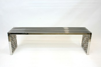 Bench, Misc, MODERN BENCH/COFFEE TABLE, METAL SLATS, METAL, SILVER