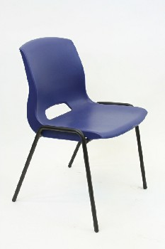 Chair, Stackable, MOLDED SEAT W/METAL LEGS,ARMLESS , PLASTIC, BLUE